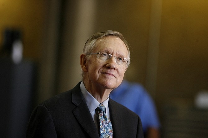 Senate Majority Leader Harry Reid, D-Nev. speaks to supporters about his jobs bill at Southern Nevada Paving, Thursday, Feb. 18, 2010 in Las Vegas. The GOP has targeted Sen. Reid for defeat in his re-election bid this year. (AP Photo/Isaac Brekken)