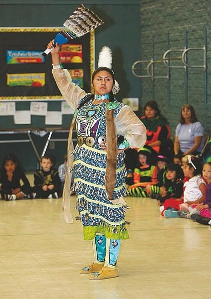 Shannon Litz/Nevada AppealNora Esparza demonstrates a dance at Bordewich-Bray Elementary School during Wa-Pai-Shone.