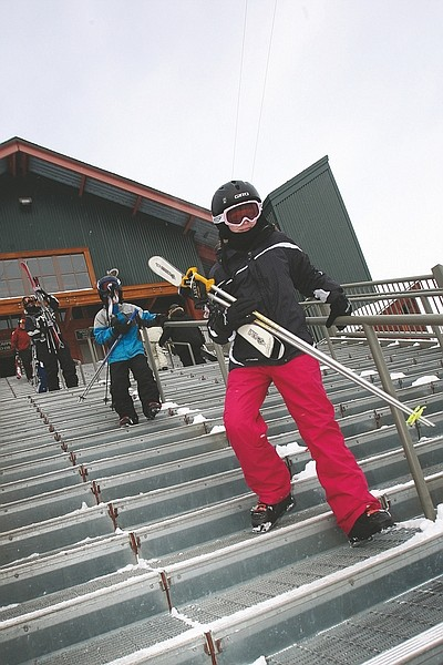 Adam Jensen/Nevada Appeal News ServiceSkiers make their way down the Heavenly Mountain Resort Gondola stairs Saturday morning.