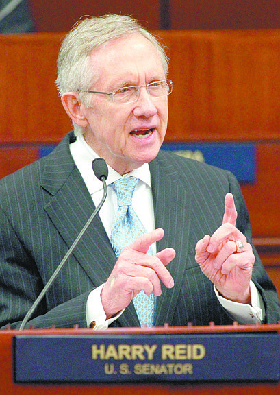U.S. Senate Majority Leader Harry Reid speaks to a joint session of the Nevada Legislature on Tuesday, Feb. 22, 2011 at the Legislature in Carson City, Nev. (AP Photo/Cathleen Allison)