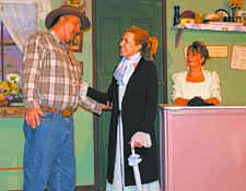 """CourtesyPlayers in the Dayton Misfits Theater Group rehearse a scene from """"The Como Indian Scare of 1863 or Food Trumps Wood in the Card-game of Life."""" They are Steve Whitehouse as Raif """"Old Man"""" Olegsen, left, Rachel Haggerty as Brunhilda """"Hilda"""" Olegsen, and Erin Copp as storekeeper Polly Potter."""