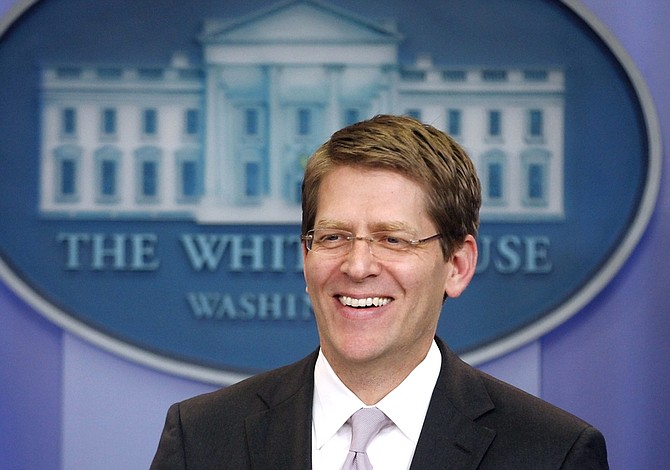 White House Press Secretary Jay Carney briefs reporters at the White House in Washington, Tuesday, April 12, 2011. (AP Photo/Charles Dharapak)