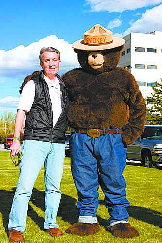 Arbor Day 2010 Celebration. Smokey Bear with Mayor Bob Crowell.