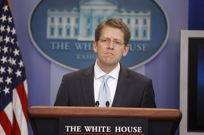 White House Press Secretary Jay Carney tells reporters that President Barack Obama will not release photos of Osama bin Laden's body, Wednesday, May 4, 2011, during the daily briefing at the White House in Washington. (AP Photo/Charles Dharapak)