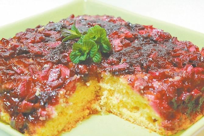 Courtesy photo by Mark MathewsonPlum rhubarb upside-down cake is a sweet way to enjoy dessert while sticking to a gluten-free diet.