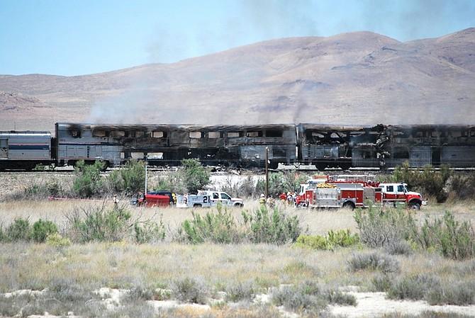 Steve Ranson/Lahontan Valley NewsThe scene of the semitruck-Amtrak crash on Friday.