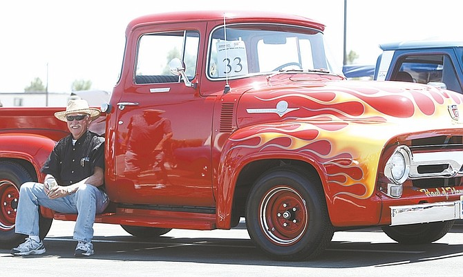 Photos by Erica Hall/Nevada AppealCarl Remme of Carson City takes a rest on his 1956 Ford pickup during the Carson City AAA and Carson City Toyota/Scion classic car show and shine Saturday.