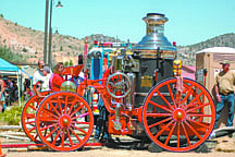 Courtesy Sharri BogdanVirginia City's circa 1879 Clapp & Jones steam fire engine will be fired up today for demonstration of its firefighting capabilities at the Virginia City firemen's muster being held on E Street. The muster is free and open to the public.