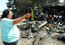Shannon Litz/Nevada AppealEleanore Muscott talks about the fire at her home on Friday morning.