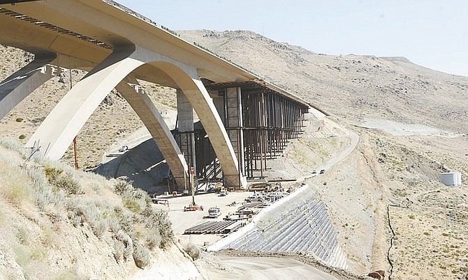 Photos by Shannon Litz/Nevada AppealConstruction continues on the Galena Creek Bridge on Thursday.