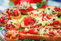Jim Grant/Nevada AppealBruschetta is an appetizer or meal that's easily adapted to tastes and whatever is at hand, according to Muffy Vhay who offers this version with fresh summer tomatoes.
