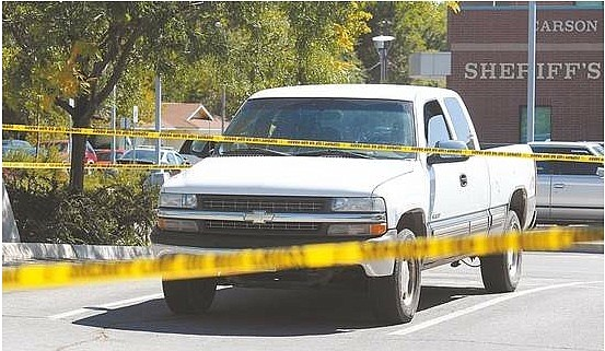 A truck involved in a shooting in Brunswick Canyon area sits in the Carson City Courthouse parking lot on Saturday.