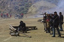 Sandi Hoover/Nevada AppealUnion soldiers fire on rebels aboard the V&T Train in Gold Hill during Saturday's Civil War battle re-enactment. Virginia City's Civil War Days continues today.