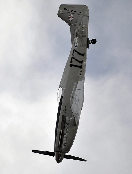"""A P-51 Mustang airplane is shown right before crashing at the Reno Air show on Friday, Sept. 16, 2011 in Reno Nevada. The plane plunged into the stands at the event in what an official described as a """"mass casualty situation."""" (AP photo/Grass Valley Union, Tim O'Brien) MANDATORY CREDIT"""