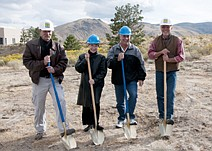 CourtesyA groundbreaking ceremony at Western Nevada College on Wednesday for the solar array project included, from left to right, Black Rock Solar Construction Manager Tom Thompson, WNC President Carol Lucey, WNC Facilities Management Director David Rollings and Black Rock Solar System Designer Joe Pizur.