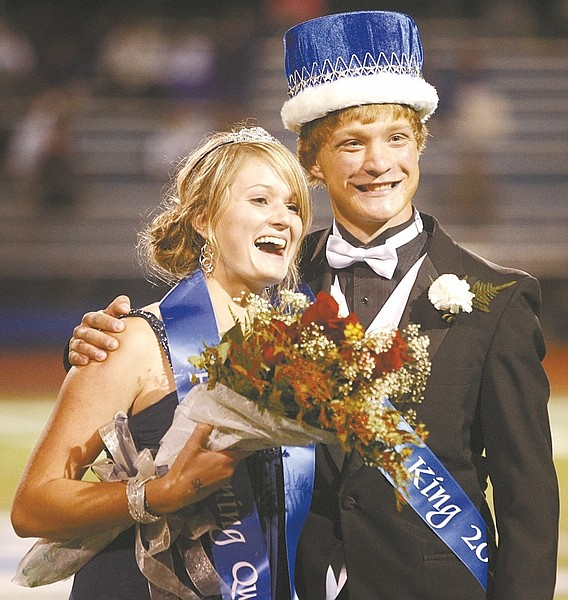 Shannon Litz/ Nevada AppealCamilla Dudley and Zach Bruce were crowned homecoming queen and king at halftime of he Carson High School football game on Friday. Carson defeated Spanish Springs 57-14.