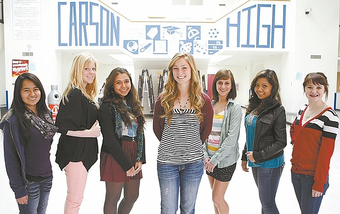 Shannon Litz / Nevada AppealStudent council members, from left: sophomore Lydia Lopez, junior Hannah Novak, junior Odile Reid, junior Emmy Heller, junior Mallory Wilson, sophomore Cheena Amaranto and sophomore Mariah Whitcome.