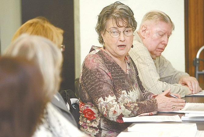 Shannon Litz / Nevada AppealCarson City Library Board member Maxine Nietz makes a suggestion during Thursday's board meeting. The board voted unanimously to ask the Board of Supervisors to put the City Center Project on the November ballot.
