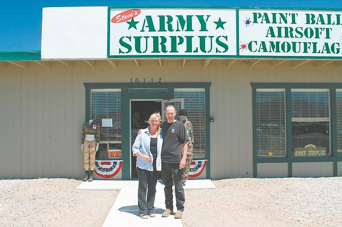 Rick Olmsted/For the Nevada AppealCathie and Steve Hinkle are holding a Grand Opening celebration today for Steve's Army Surplus in Mound House.