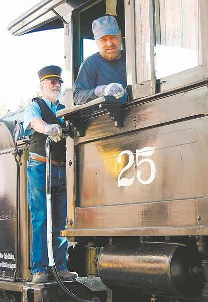 John Barrette / Nevada AppealRay Tolles became the engineer on Steam Locomotive No. 25 at the Nevada State Railroad Museum, flanked by conductor Russ Tanner, as he fulfilled a dream. His wife gave him the chance through a museum program, making it his 70th birthday gift.