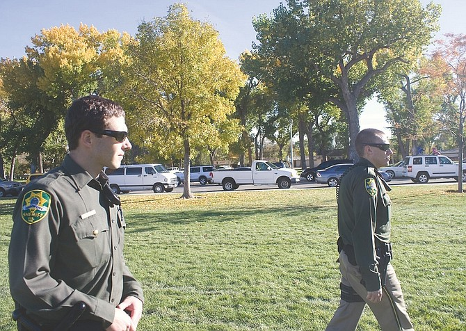 Wheeler Cowperthwaite / Nevada AppealReserve Deputies Brett Zolkos, left, and Jonathan Stone patrol Mills Park on Friday afternoon.