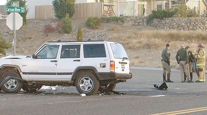 Wheeler Cowperthwaite / Nevada AppealA motorcyclist was killed Tuesday evening at the intersection of Camballeria Drive and Carson River Road.