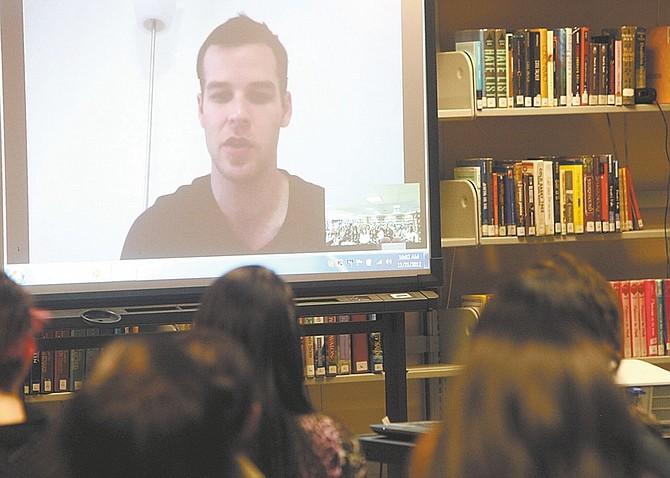 Shannon Litz/ Nevada AppealA member of the Preemptive Love Coalition talks to Carson High School students via Skype on Wednesday.