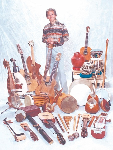 Minden resident Todd Green performs more than 30 instruments in a concert tonight in the CVIC Hall.