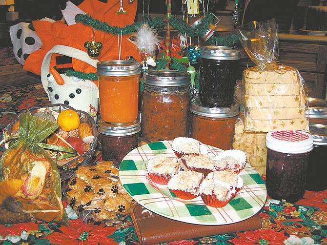 Courtesy of Linda MarroneLinda Marrone's canned goods, along with Bert's Raspberry Squares and Macky's Dog Biscuits, are shown.