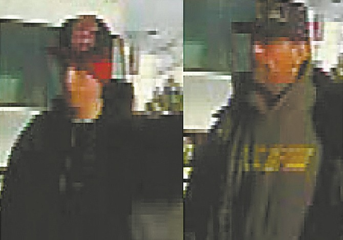 CourtesyThe younger suspect, on the left, had a prominent nose while the older suspect has a dimple on his right cheek. The younger suspect wore a red beanie underneath his hat.