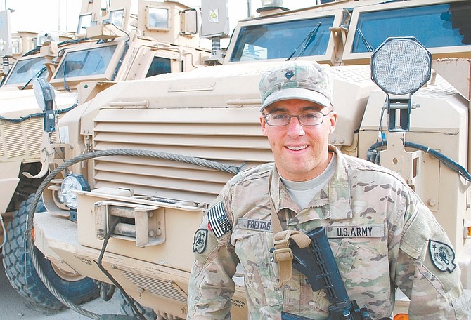 Steve Ranson / Lahontan Valley News Douglas High School graduate Kyle Freitas drives convoy trucks for the 593rd Transportation Company out of Camp Phoenix, Afghanistan.