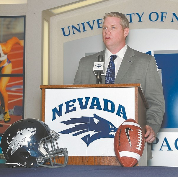 Courtesy John Byrne / Nevada Media ServicesBrian Polian talks about taking over the Nevada Wolf Pack at a Friday press conference.