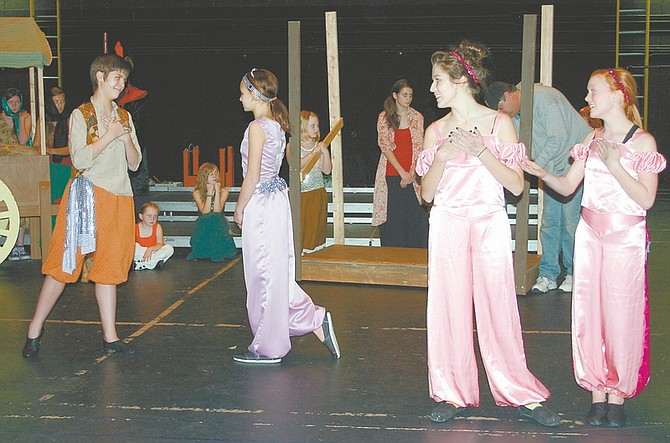 """CourtesyJackson Jensen, left, as Aladdin rehearses with other cast members in a Youth Theatre Carson City production of """"Aladdin."""""""