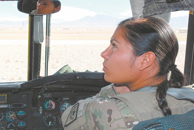 Steve Ranson / Lahontan Valley NewsChief Warrant Officer Vania Apodaca was one of three female aviators in the Nevada Army National Guard's aviation company who flew in Afghanistan in 2012.