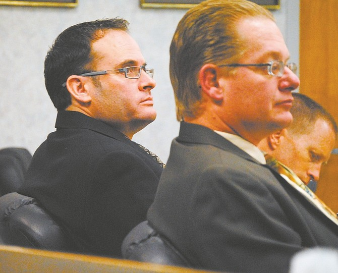 Steve Puterski / Lahontan Valley newsKeith Alan Thomas, left, and his attorney, Steve Evenson, listen to testimony on Wednesday in the Tenth Judicial District Court in Fallon.