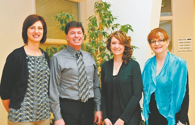 CourtesyFrom left are WNC Foundation Director Katie Leao, Foundation Chair Jed Block, student veteran Cassandra Noll, and Carson Nugget General Manager Star Anderson.