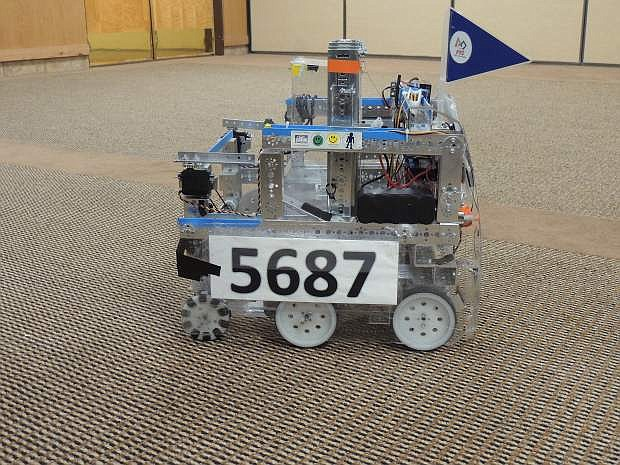 The First Tech Challenge robotic device developed by students is displayed on Wednesday.