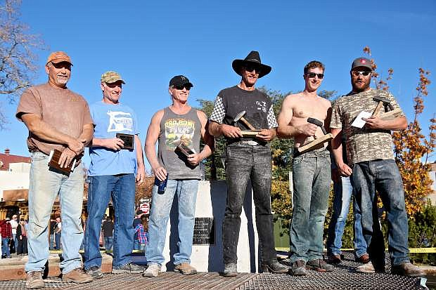 Winners of the 2016 single-jack drilling contest are, from left to right: Craig Leedy (5th), Matt Karst (6th), Steve MacDonald (4th), Tom Donovan (1st), Emmit Hoyl (3rd) and Jesse Pattridge (2nd).