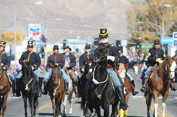 The First Nevada Cavalry march in Saturday's Nevada Day parade.