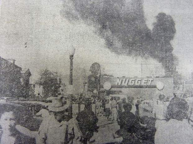 From the Nevada Appeal on Nov. 1, 1954: Attracting all attention from festivities of the Nevada Day celebration on Nov. 1, 1954, was the fire that broke out in the Nugget shortly after the parade. A grease chute in the club burst into flame sending clouds of black smoke into the air and filling the gaming house.