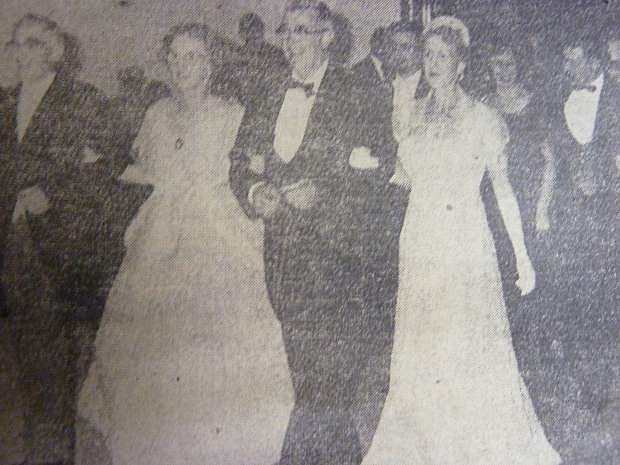 From the Nevada Appeal on Nov. 1, 1957: Leading the Grand March at the 1864 Ball are Gov. and Mrs. Charles Russell and Supreme Court Chief Justice and Mrs. Milton Badt, while second in line are Mr. and Mrs. Bill Engel and Mr. and Mrs. Stan Pochop.