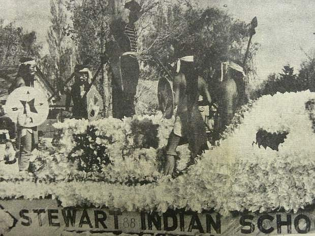 From the Nevada Appeal on Nov. 1, 1962: Stewart Indian School received a special award for best in conformity and also the first prize in the Indian entry division. About 150 entries were seen in the three-hour-long parade.