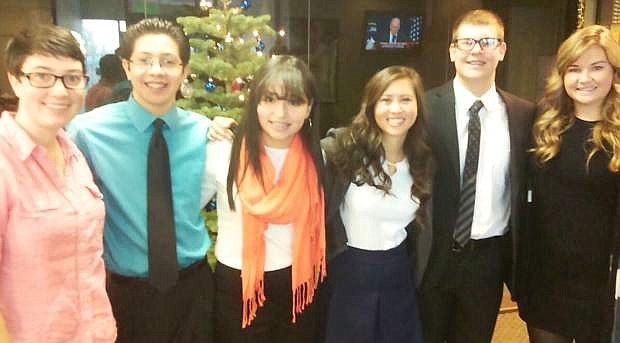 Blane Merkley will appear on the Nevada Newsmakers show on Christmas Eve for the 11th annual teen addition. Pictured are the six students who were selected to appear on the show from across Nevada. From left are Elizabeth Woomer, Michael Arreygue, Stephanie Lamas, Lauren Bain, Merkley and Emily MacDiarmid.