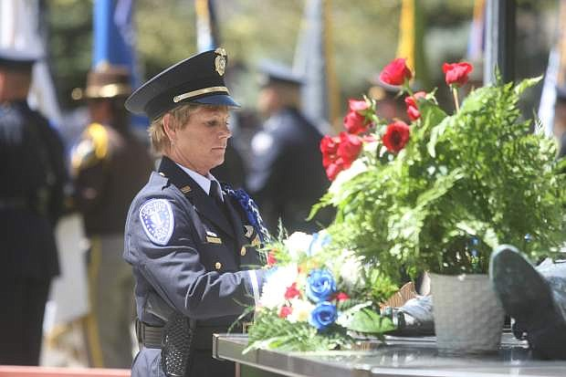 Former state Sen. Bill Raggio was honored at the Nevada Law Enforcement Officers Memorial with a tree and plaque, unveiled by Sen. Randolph Townsend and Dale Raggio, on Thursday afternoon.