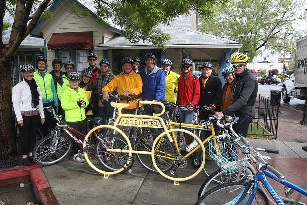 Community leaders take a bike ride Tuesday morning hosted by Muscle Powered to promote National Bike Month. A variety of events are planned throughout the month, including Bike to Work Week starting Monday.