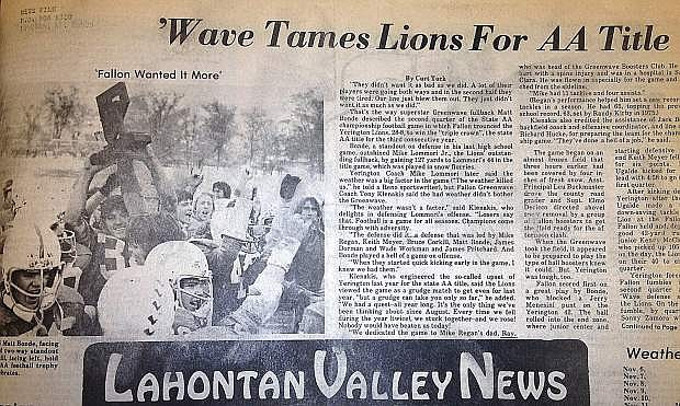 A newspaper article from 1978 details the Fallon football team's last state championship.
