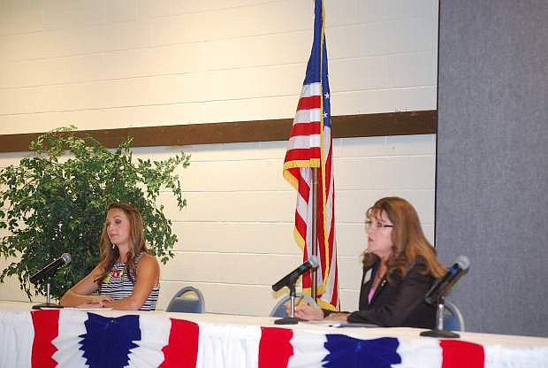 Recorder candidates Tasha Hessey and Jaime Dellera answer questions at last week's LVN Candidates Night.