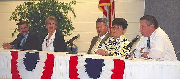 School board candidates answered a wide range of questions at the LVN Candidates' Night on Wednesday. From left are incumbents Rich Gent, Carmen Schank, Clay Hendrix, Nona McFarlane andchallenger Matt Hyde.