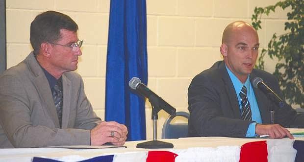 Challenger Jay Horsley, left, and incumbent Ben Trotter discuss issues pertaining to public safety at Wednesday's LVN Candidates' Night.