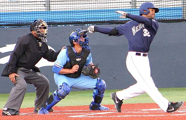 Nevada's Jay Anderson hits a ground ball against San Jose State during the Wolf Pack's win earlier this season.